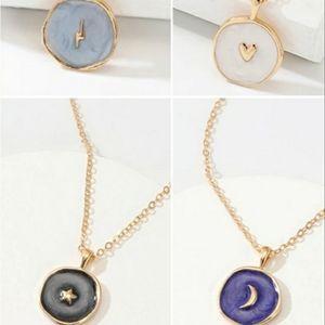 Cloisonne celestial  charm disc necklace